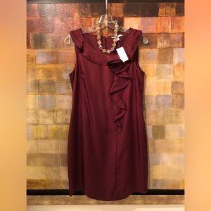 BR Burgundy Maroon Silk Sleeveless Sheath Dress